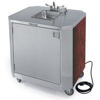Lakeside 9610 Portable Self-Contained Stainless Steel Hand Sink Cart with Hot & Cold Water Faucet, Soap Dispenser, and Red Maple Finish - 120V