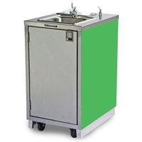Lakeside 9620G Portable Self-Contained Stainless Steel Hand Sink Cart with Hot Water Faucet, Soap Dispenser, and Green Finish - 120V