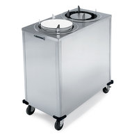 Lakeside 917 Stainless Steel Mobile Enclosed Two Stack Heated Adjust-A-Fit Dish Dispenser for 4 1/4 inch to 7 1/2 inch Dishes - 120V