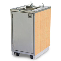 Lakeside 9620 Portable Self-Contained Stainless Steel Hand Sink Cart with Hot Water Faucet, Soap Dispenser, and Hard Rock Maple Finish - 120V