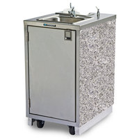 Lakeside 9620GS Portable Self-Contained Stainless Steel Hand Sink Cart with Hot Water Faucet, Soap Dispenser, and Gray Sand Finish - 120V