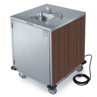 Lakeside 9600W Portable Self-Contained Stainless Steel Hand Sink Cart with Cold Water Faucet, Soap Dispenser, and Walnut Finish - 115V
