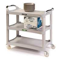 Lakeside 2510 Light Gray Plastic Three Shelf Utility Cart - 42 inch x 20 inch x 37 1/2 inch