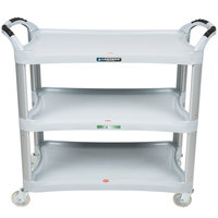 Lakeside 2510 Light Gray Plastic Three Shelf Utility Cart - 42 inch x 20 inch x 37 1/2 inch