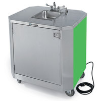 Lakeside 9610G Portable Self-Contained Stainless Steel Hand Sink Cart with Hot & Cold Water Faucet, Soap Dispenser, and Green Finish - 120V