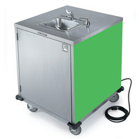 Lakeside 9600G Portable Self-Contained Stainless Steel Hand Sink Cart with Cold Water Faucet, Soap Dispenser, and Green Finish - 115V
