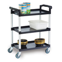 Lakeside 2500 Black Plastic Three Shelf Utility Cart - 31 3/4 inch x 17 1/2 inch x 38 inch