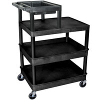 Luxor / H. Wilson LPT44 Four Shelf Tiered Utility Cart with Work Top - 24 inch x 32 inch x 44 inch