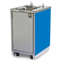 Lakeside 9620BL Portable Self-Contained Stainless Steel Hand Sink Cart with Hot Water Faucet, Soap Dispenser, and Royal Blue Finish - 120V