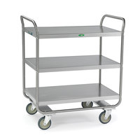 Lakeside 244 Stainless Steel Three Shelf Tubular Utility Cart - 36 inch x 22 inch x 40 5/8 inch