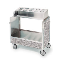 Lakeside 603GS Stainless Steel Silverware / Tray Cart with 10 Hole Flatware Bin and Gray Sand Finish - 22 1/4 inch x 36 1/4 inch x 39 3/4 inch