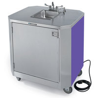 Lakeside 9610P Portable Self-Contained Stainless Steel Hand Sink Cart with Hot & Cold Water Faucet, Soap Dispenser, and Purple Finish - 120V