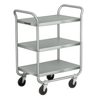 Lakeside 211 Stainless Steel Three Shelf Tubular Utility Cart - 27 inch x 17 1/2 inch x 35 3/4 inch