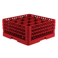 Vollrath TR8DDA Traex® Full-Size Red 16-Compartment 7 7/8 inch Glass Rack with Open Rack Extender On Top