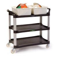 Lakeside 2512 Charcoal Plastic Three Shelf Utility Cart - 42 inch x 20 inch x 37 1/2 inch
