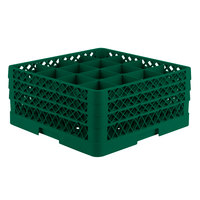 Vollrath TR8DDA Traex® Full-Size Green 16-Compartment 7 7/8 inch Glass Rack with Open Rack Extender On Top