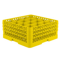 Vollrath TR8DDA Traex® Full-Size Yellow 16-Compartment 7 7/8 inch Glass Rack with Open Rack Extender On Top