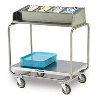 Lakeside 214 Stainless Steel Condiment / Tray Cart with Four 1/4 Size Pans - 34 3/4 inch x 22 1/2 inch x 39 3/4 inch
