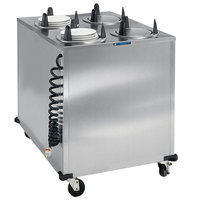 Lakeside 6400 Stainless Steel Mobile Enclosed Four Stack Heated Dish Dispenser / Warmer for Dishes up to 5 inch - 120V