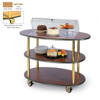 Geneva 36303 3 Oval Shelf Table Side Service Cart with Acrylic Roll Top Dome and Amber Maple Finish - 23 inch x 44 inch x 44 1/4 inch