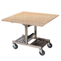 Geneva 74410 Mobile Rectangular Top Tri-Fold Room Service Table with Stainless Steel Frame and Maple Finish - 36 inch x 43 inch x 31 inch