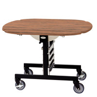 Geneva 74405VC Mobile Round Top Tri-Fold Room Service Table with Victorian Cherry Finish - 36 inch x 43 inch x 31 inch