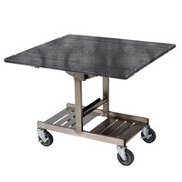 Geneva 74410 Mobile Rectangular Top Tri-Fold Room Service Table with Stainless Steel Frame and Pewter Brush Finish - 36 inch x 43 inch x 31 inch