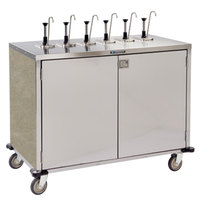 Lakeside 70271BS Stainless Steel E-Z Serve 12-Pump Condiment Dispensing Cart with Beige Suede Finish for 3 Gallon Condiment Pouches - 27 1/2 inch x 50 1/4 inch x 48 1/2 inch