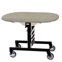 Geneva 74405BS Mobile Round Top Tri-Fold Room Service Table with Beige Suede Finish - 36 inch x 43 inch x 31 inch