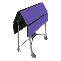 Lakeside 416 Mobile Square Top Fold-Up Room Service Table with Purple Finish - 22 1/4 inch x 36 inch x 30 inch