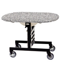 Geneva 74405 Mobile Oval Top Tri-Fold Room Service Table with Gray Sand Finish - 36 inch x 43 inch x 31 inch