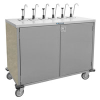 Lakeside 70221 Stainless Steel E-Z Serve 4-Pump Condiment Dispensing Cart with Beige Suede Finish for 3 Gallon Condiment Pouches - 27 1/2 inch x 33 inch x 48 1/2 inch