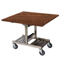 Geneva 74410 Mobile Rectangular Top Tri-Fold Room Service Table with Stainless Steel Frame and Victorian Cherry Finish - 36 inch x 43 inch x 31 inch