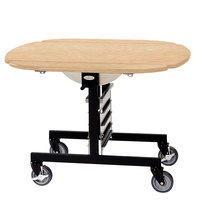 Geneva 74405SRM Mobile Oval Top Tri-Fold Room Service Table with Red Maple Finish - 36 inch x 43 inch x 31 inch