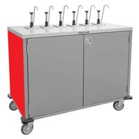Lakeside 70201RD Stainless Steel E-Z Serve 8-Pump Condiment Dispensing Cart with Red Finish for 3 Gallon Condiment Pouches - 27 1/2 inch x 50 1/4 inch x 48 1/2 inch