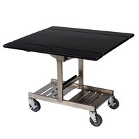 Geneva 74410 Mobile Rectangular Top Tri-Fold Room Service Table with Stainless Steel Frame and Black Finish - 36 inch x 43 inch x 31 inch