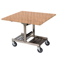 Geneva 74410 Mobile Rectangular Top Tri-Fold Room Service Table with Stainless Steel Frame and Amber Maple Finish - 36 inch x 43 inch x 31 inch