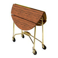 Lakeside 415 Mobile Round Top Fold-Up Room Service Table with Victorian Cherry Finish - 22 1/4 inch x 40 inch x 30 inch