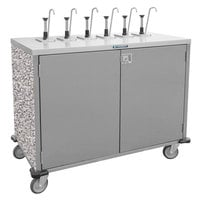 Lakeside 70211GS Stainless Steel E-Z Serve 6-Pump Condiment Dispensing Cart with Gray Sand Finish for 3 Gallon Condiment Pouches - 27 1/2 inch x 50 1/4 inch x 48 1/2 inch