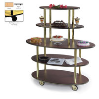 Geneva 37212 5 Oval Shelf Dessert Cart with Maple Finish - 24 inch x 50 inch x 56 inch
