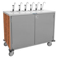 Lakeside 70221VC Stainless Steel E-Z Serve 4-Pump Condiment Dispensing Cart with Victorian Cherry Finish for 3 Gallon Condiment Pouches - 27 1/2 inch x 33 inch x 48 1/2 inch