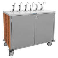 Lakeside 70221 Stainless Steel E-Z Serve 4-Pump Condiment Dispensing Cart with Victorian Cherry Finish for 3 Gallon Condiment Pouches - 27 1/2 inch x 33 inch x 48 1/2 inch