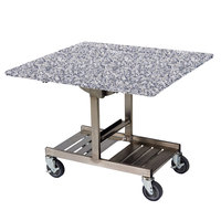 Geneva 74410 Mobile Rectangular Top Tri-Fold Room Service Table with Stainless Steel Frame and Gray Sand Finish - 36 inch x 43 inch x 31 inch