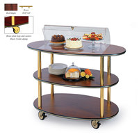 Geneva 36303 3 Oval Shelf Table Side Service Cart with Acrylic Roll Top Dome and Red Maple Finish - 23 inch x 44 inch x 44 1/4 inch