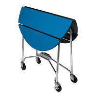 Lakeside 415 Mobile Round Top Fold-Up Room Service Table with Royal Blue Finish - 22 1/4 inch x 40 inch x 30 inch