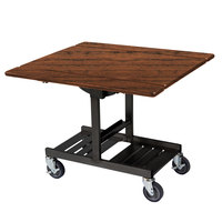 Geneva 74410 Mobile Rectangular Top Tri-Fold Room Service Table with Victorian Cherry Finish - 36 inch x 43 inch x 31 inch