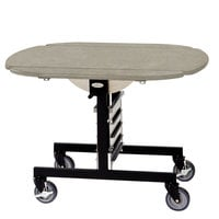 Geneva 74405 Mobile Oval Top Tri-Fold Room Service Table with Beige Suede Finish - 36 inch x 43 inch x 31 inch