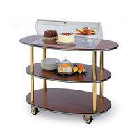 Geneva 36303-02 3 Oval Shelf Table Side Service Cart with Acrylic Roll Top Dome and Victorian Cherry Finish - 23 inch x 44 inch x 44 1/4 inch