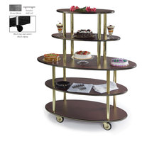 Geneva 37212 5 Oval Shelf Dessert Cart with Pewter Brush Finish - 24 inch x 50 inch x 56 inch