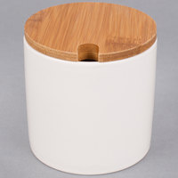 American Metalcraft PCBL9 9 oz. White Porcelain Canister with Bamboo Lid